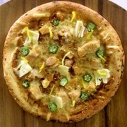 合馬のタケノコと豊後鶏のピザ