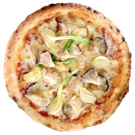 若松乙村式にんにくと椎茸ピザ